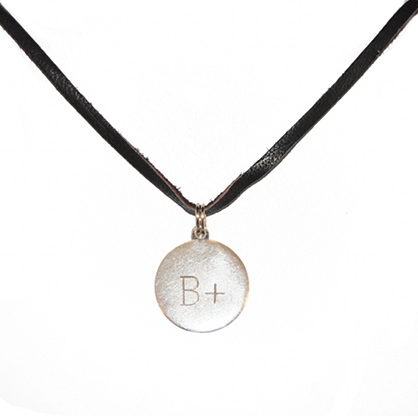 Sterling Silver B+ Charm on Leather Cord