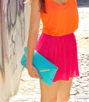 Pink skirt, orange top (pinterest)