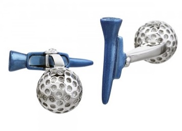 golf ball and tee cufflinks