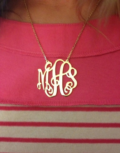 monogram on pink stripe shirt